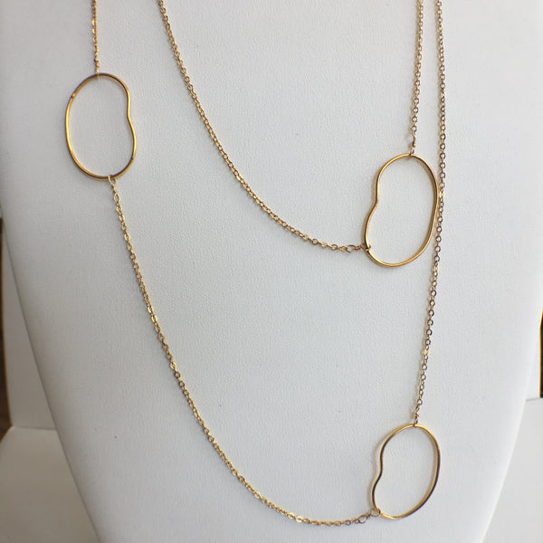 18K Gold Plated Necklace with Crunched Ovals, 36""