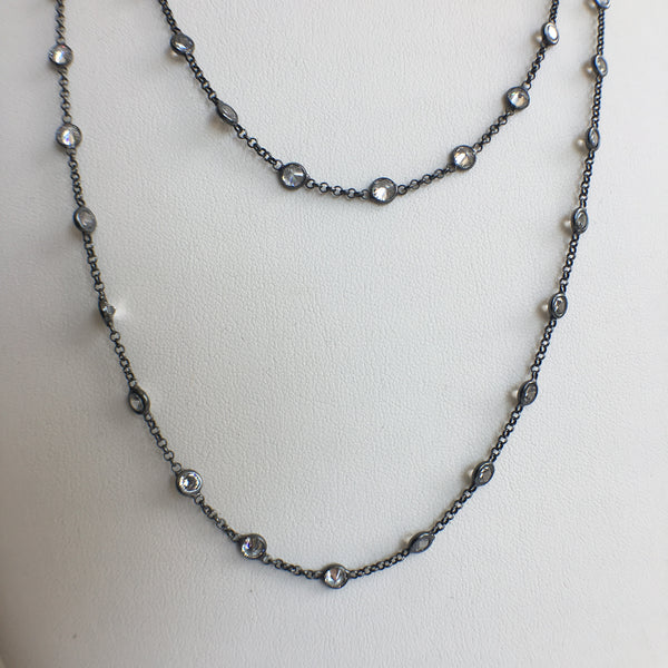 Double Strand Diamond By The Yard, Oxidized Silver