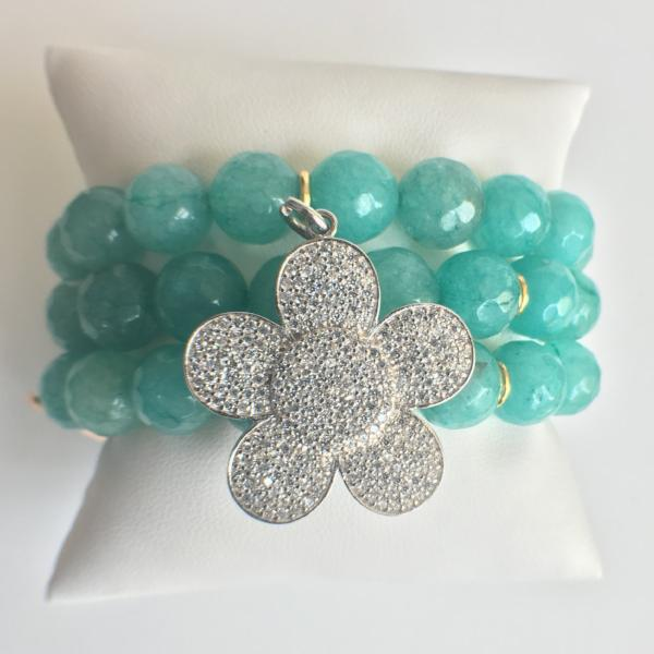 Triple Strand Amazonite Stretch Bracelet with Pave CZ Flower