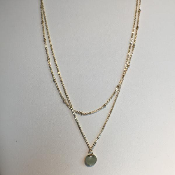 Shimmery Double Strand Necklace, Small Pendant