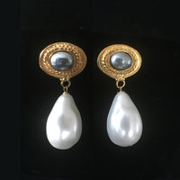 White / Grey Pearl Clip Earrings - Large