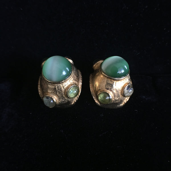 Green Cat Eye Clip Earrings