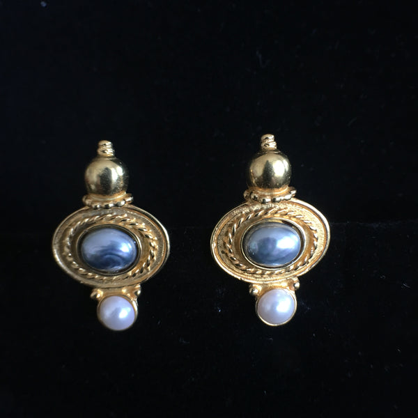 White / Grey Pearl Clip Earrings - Small