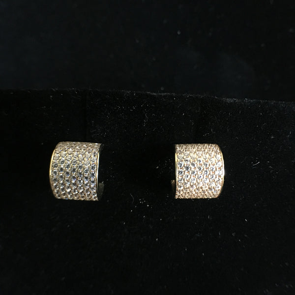 Gold CZ Huggie Earrings