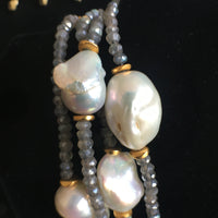 Baroque Pearl and Labrodite Double Strand Necklace