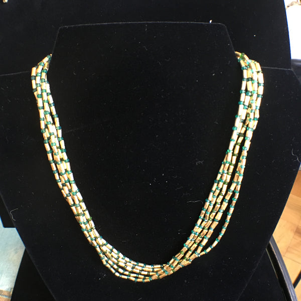 Green Diopside Multi-Strand Necklace