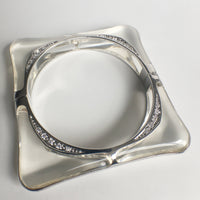 Square Acrylic Bangle with Rhodium Swirls