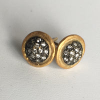 New- Diamond cluster stud earrings, mixed metal