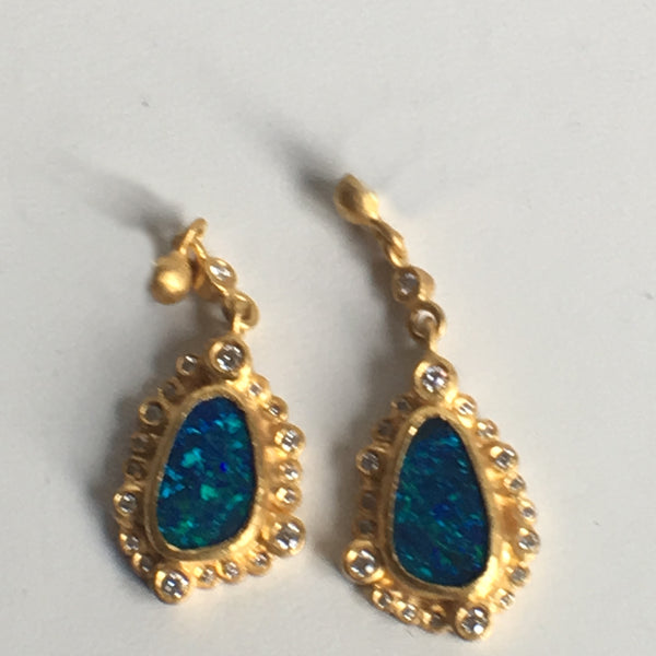 Stunning Australian Black Opal Drop Earrings