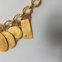 Mixed Metal Coin Necklace with Dangling coins down the back