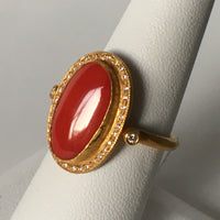 Vibrant Orange Coral ring with Hint of Diamonds