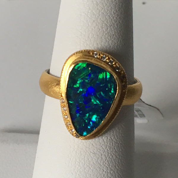 24 Gold Australian Black Opal ring
