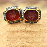 Red agate Pegasus intaglio cufflinks with gold, silver & diamond accents