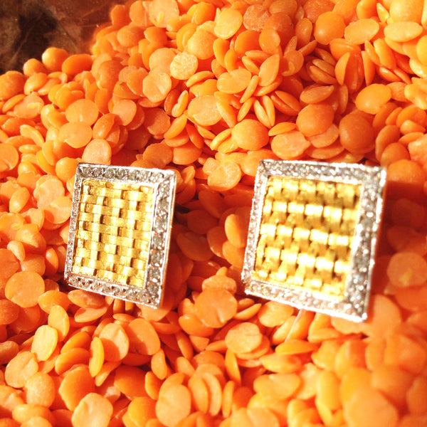 Basket weaved gold cufflinks w/ white gold and diamonds