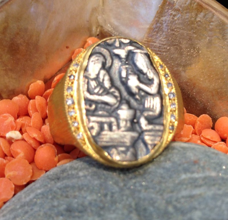 Hieroglyphic Insignia Ring 24K Gold & Silver