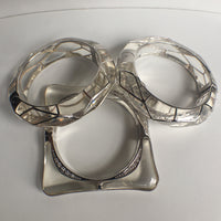 Round Acrylic Bangle with Rhodium Swirls
