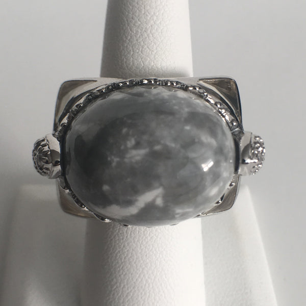 Howlite and Acrylic Dome Ring