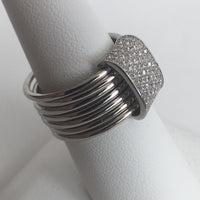 Multi-strand Silver and CZ Ring