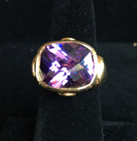 14K Vermeil Ring with Purple CZ