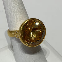 Brilliant Cut Citrine Cocktail Ring - 24K Gold with Diamond Accents