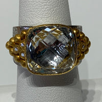 5+ Carat Faceted Cushion Cut White Topaz Ring Set in 24K Gold with Cascade of Diamonds and Gold Nuggets on Both Sides