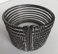 10 Row CZ Gap Bracelet, Black Rhodium