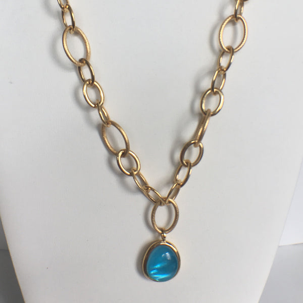 Stunning Blue Quartz Chain Link Necklace