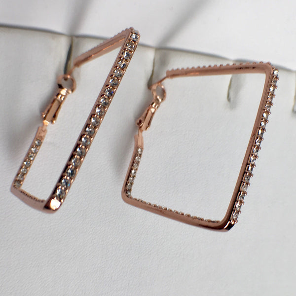 Square Hoop CZ Earrings - Rose