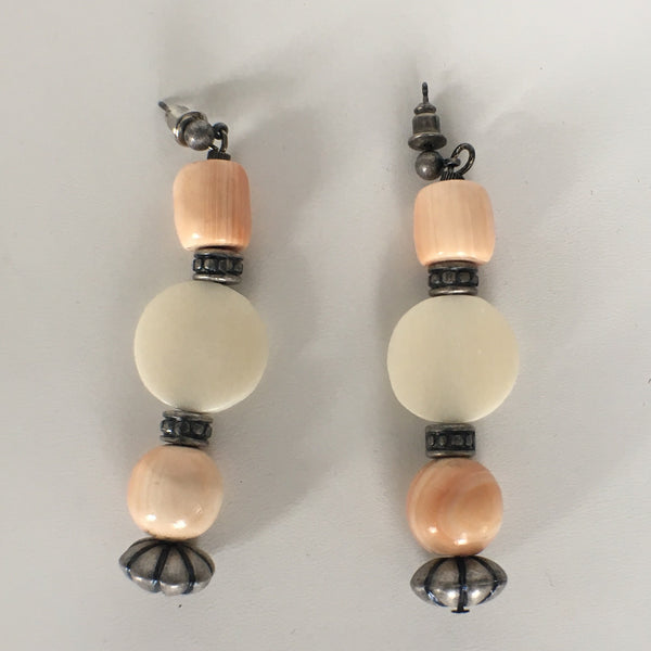 Coral and Bone Beaded Long Earrings