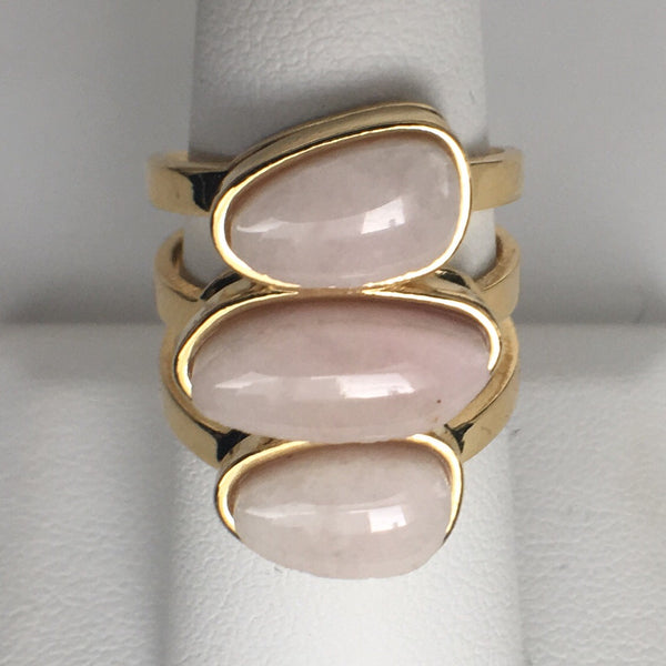 18K Gold Plated Adjustable Rose Quartz Stone Ring