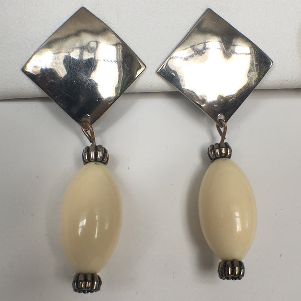 Beige Pendant Drop Earrings