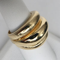 Triple Band Satin and Shiny Gold Plated Ring