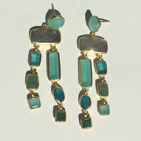 Multi - Stone Chalcedony - Green Quartz - Labradorite Earrings