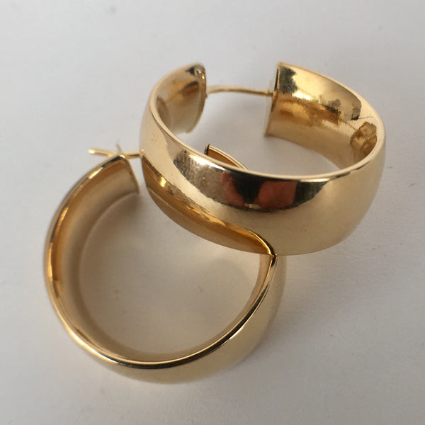 Wide Band 18K Gold Hoops