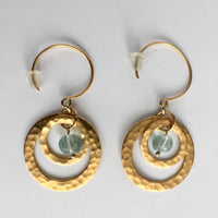 24k Gold Plated Concentric Circles Earrings with Murano Glass - Blue
