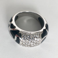 Silver Leopard Spotted Ring with CZs