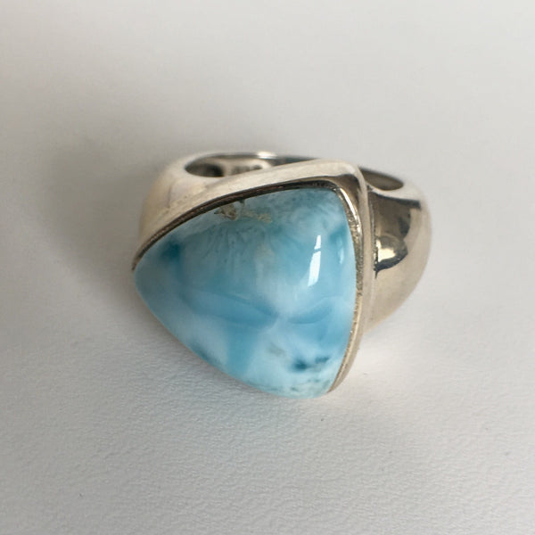 Larimar Stone Sterling Silver Ring