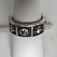 Sterling Silver Black Enamel Band CZs