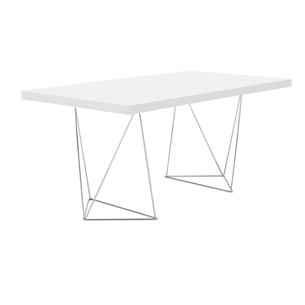 Multi 71 Table with Chrome Trestle Legs