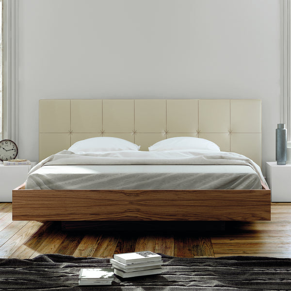 Float King Bed w/ Upholstered Headboard
