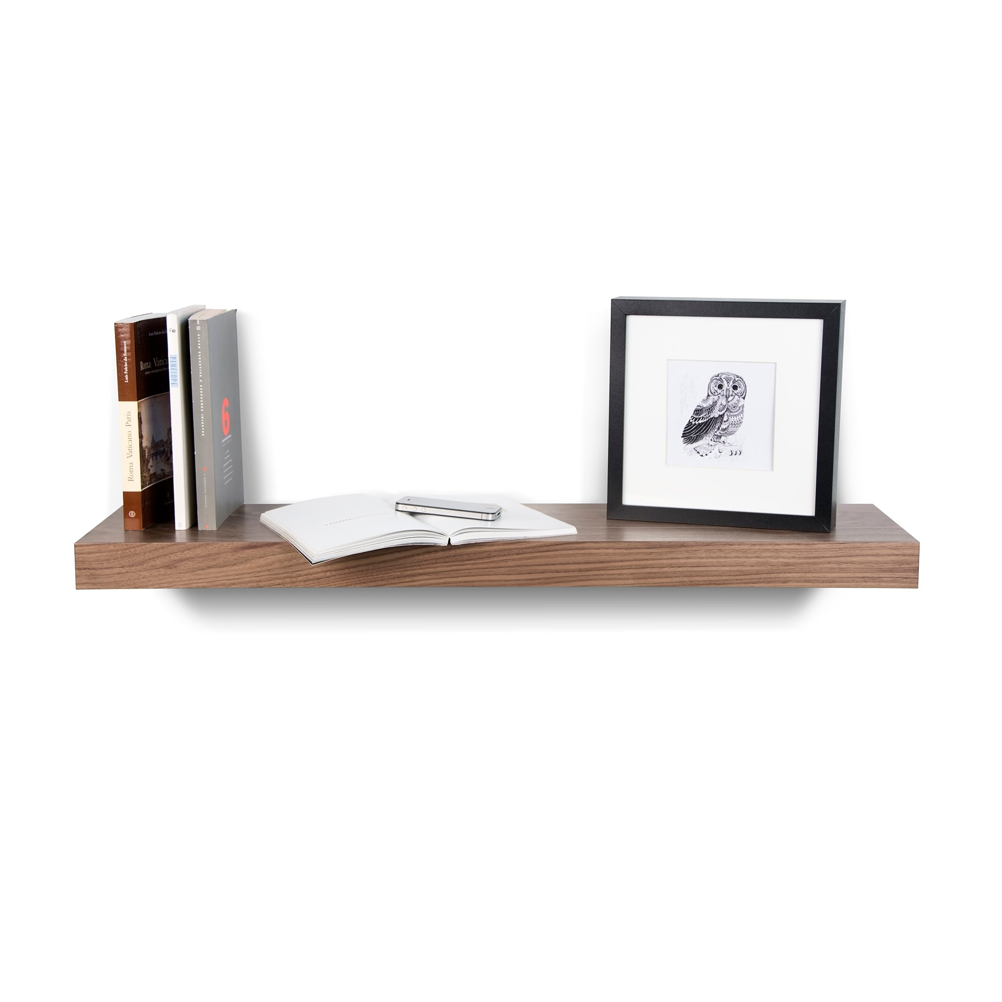 Balda Walnut Hanging Wall Shelf