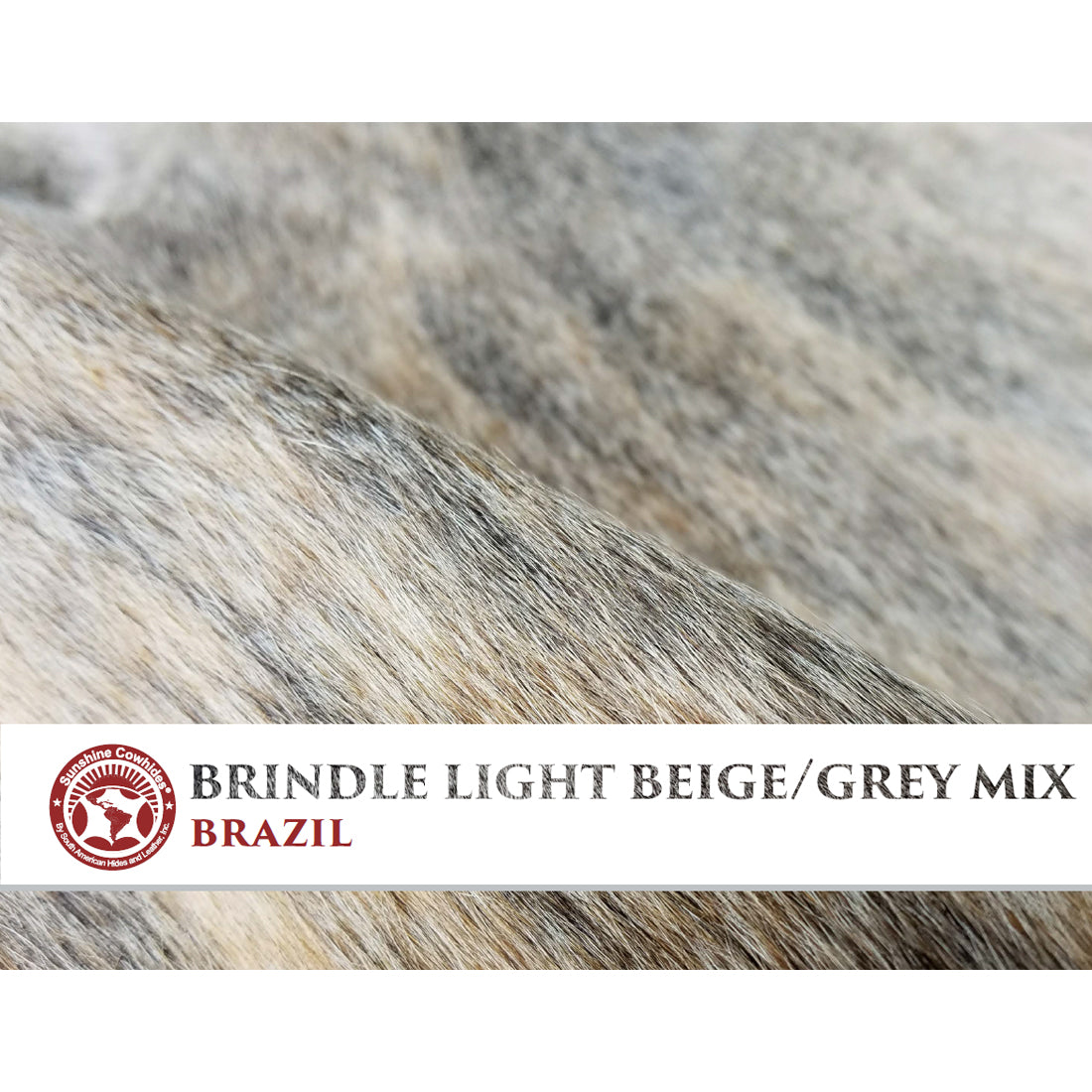Natural Cowhide Rug - Brindle Light Beige & Grey Mix