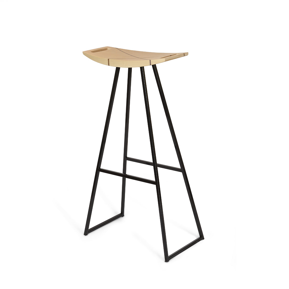 Robert Maple Bar Stool w/ Walnut Inlay