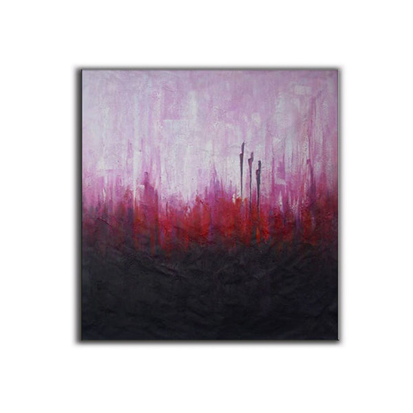 Pink, Red, and Black ORIGINAL Modern Abstract Painting
