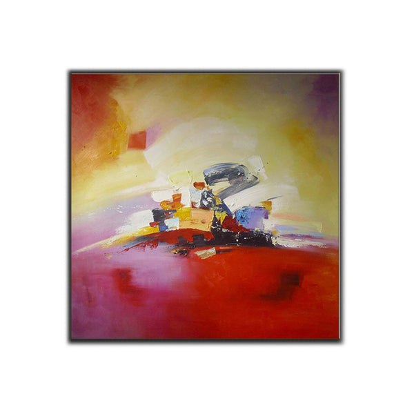 Pink, Red, and Yellow ORIGINAL Modern Abstract Painting