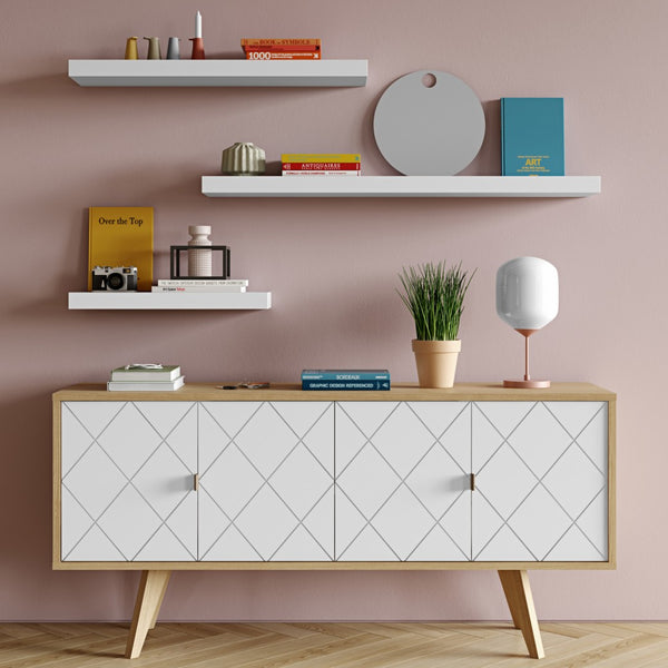 Balda White Hanging Wall Shelf