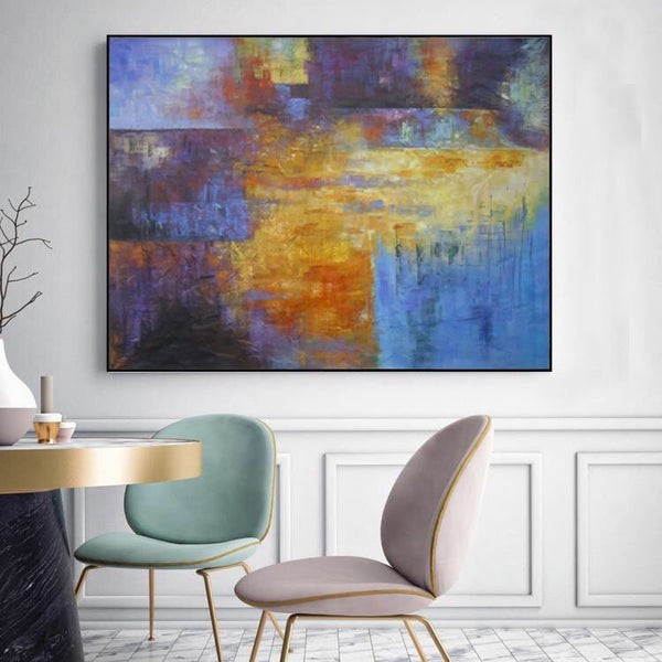 Tan, Blue and Purple ORIGINAL Modern Abstract Painting