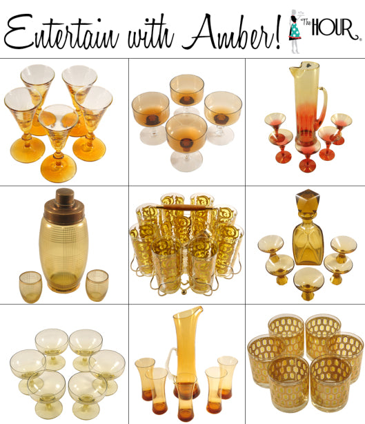 Our 9 Favorite Vintage Amber Glassware Sets