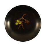Vintage Couroc of Monterey Black Resin Round Olive Inlay Bowl