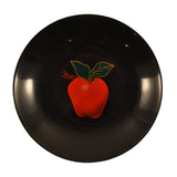 Vintage Black resin Red Apple Couroc of Monterey Round Bowl